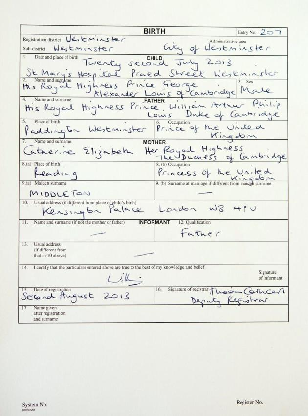 Prince George Birth Certificate