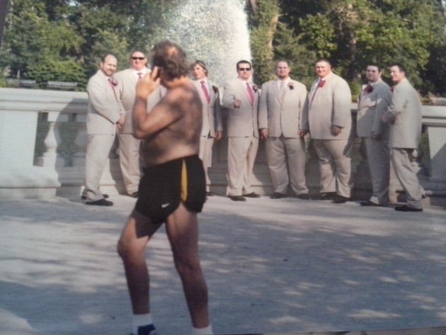 Shirtless Man Photobombs Groomsmen