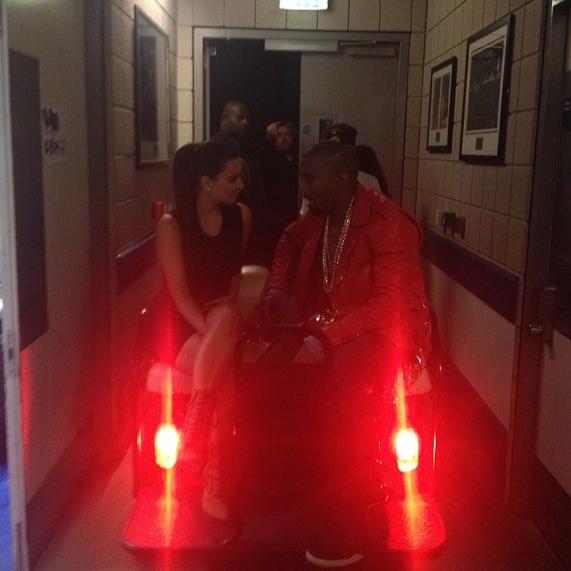 Kim Kardashian and Kanye West Backstage