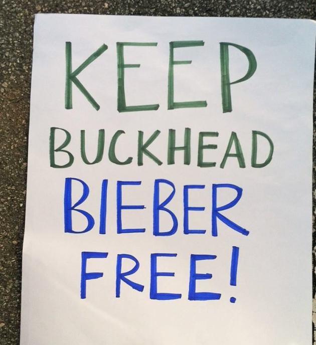 Justin Bieber Protest Sign