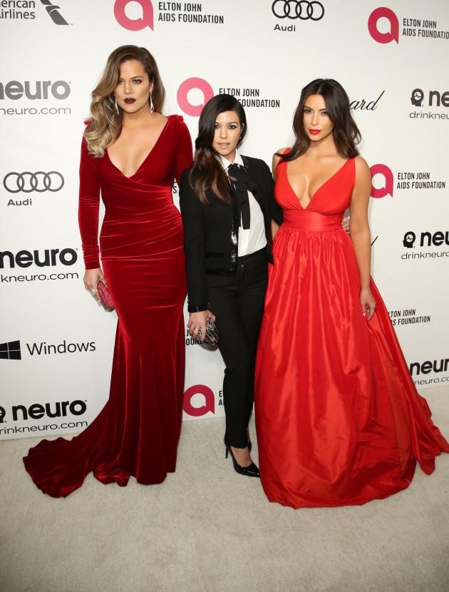 Khloe, Kourtney and Kim Kardashian at Elton's