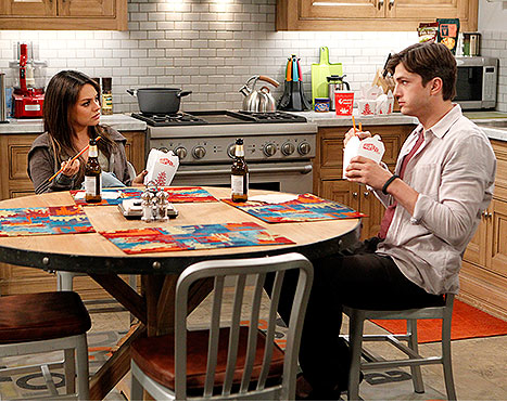 Mila and Ashton on Two and a Half Men