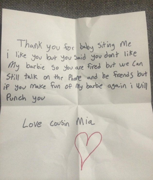 Child Fires Babysitter with Note
