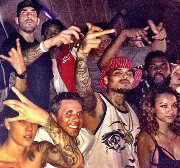 Justin Bieber and Chris Brown at the Club