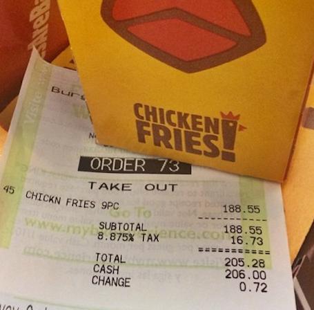 Chicken Fries Receipt