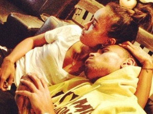 Chris Brown and Karrueche Tran Cuddling