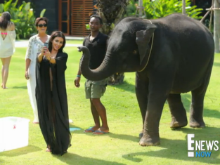 Kim Kardashian and an Elephant