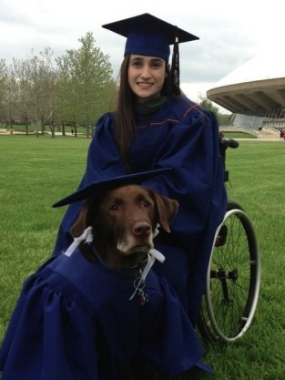 Girl Graduates With Service Dog
