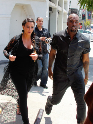 Kim Kardashian and Kanye West Strolling