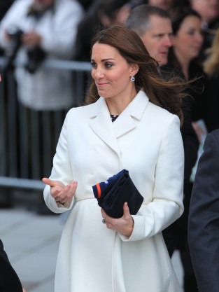 Kate Middleton, 7 months pregnant, in Portsmouth UK