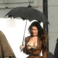 Megan Fox Under an Umbrella