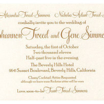 Gene simmons and shannon tweed wedding invitation
