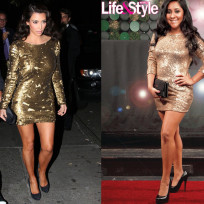 Who wears this gold dress better?