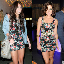 Who pulls off this dress better: Miley Cyrus or Jessica Stroup?