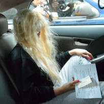 Amanda Bynes in a Car