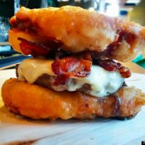 Deep fried twinkie burger