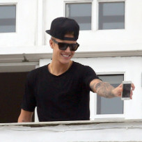 Justin Bieber on a Balcony