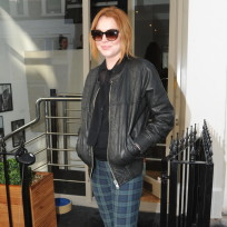 Lindsay Lohan Leather Jacket Photo