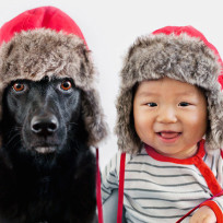 Dog and Toddler Dress in Same Silly Outfits