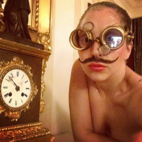 Lady Gaga with a Mustache