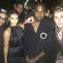 Justin Bieber, Kim Kardashian and Kanye West
