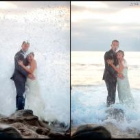 Wave crashes wedding