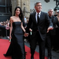 Amal alamuddin and george clooney look happy