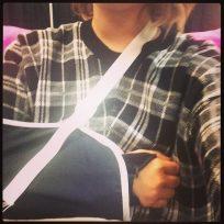 Demi lovato in a sling