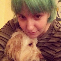 Lena dunham with green hair