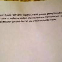Little kid love letter