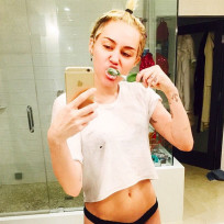 Miley cyrus tooth brushing non pants wearing