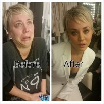 Kaley cuoco makeup before and after