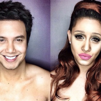 Guy transforms into female stars with makeup wigs ariana grande