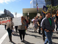 Pro-Dorner Protestors Gather Outside LAPD Headquarters