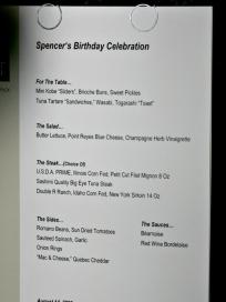 Spencer's Birthday Menu