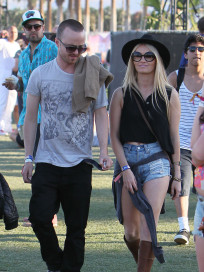 Aaron Paul and Lauren Parsekian at Coachella