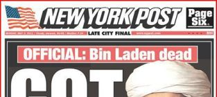 New York Post & Daily News bin Laden covers: Bad taste?