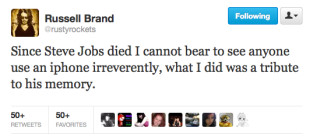 Russell Brand on iPhone Window Attack: A Tribute to Steve Jobs!