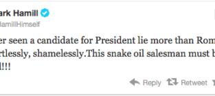 Mark Hamill on Mitt Romney: A Snake-Oil Salesman!