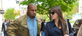 Kim kardashian with kanye west walking