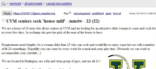 "House MILF Craigslist Ad: Vermont Seniors Seek ""Older"" Woman For Cooking, Boning"
