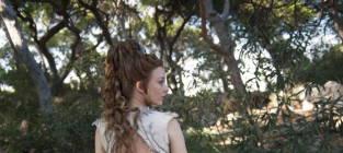 Natalie dormer purple wedding gown