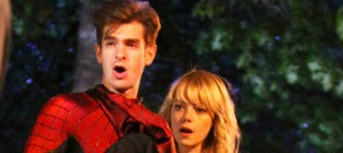 Andrew garfield on the set of spiderman