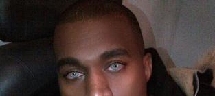 Kanye west with blue eyes