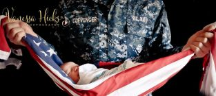 Baby in american flag photo