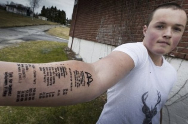 Norweigan Teenager Gets McDonald's Receipt Tattooed on Arm