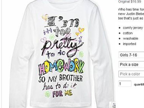JC Penney Too Pretty For Homework Shirt