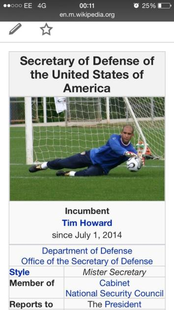 Tim Howard: Secretary of Defense
