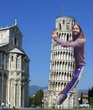 Jared Leto Hugs the Leaning Tower of Pisa