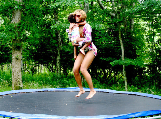 Blue Ivy And Beyonce Trampoline